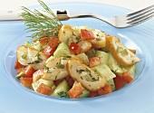 Vegetable salad with Schillerlocken (curls of smoked dogfish)