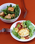 Goat's cheese cakes, asparagus salad and diced salmon