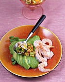 Avocado fan with shrimps and tomato & pepper salsa