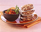 Kidney bean burgers with tomato sauce