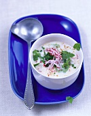 Cold radish soup with herbs