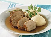 Pork fillet in balsamic sauce with celery mash