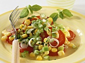 Pepper and tomato salad with sweetcorn