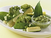 Green vegetables with ramsons (wild garlic) pesto