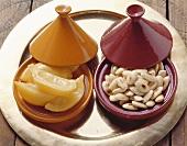 Lemons and almonds in tajines, Morocco