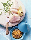 Ingredients for monkfish with lemon sauce