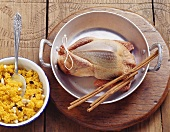 Ingredients for pigeon with couscous and almond stuffing