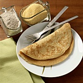 Pancakes with cornmeal or wholemeal flour