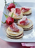 Small Palatschinken (pancake) cakes with rose petals