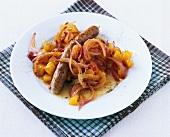Balsamic pumpkin goulash with sausage