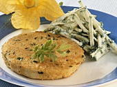 Celeriac escalope with raw courgette salad