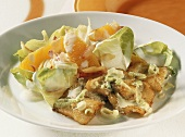 Plaice fillet with chicory and orange salad