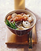 Japanese seafood stew with soba noodles