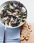 Mussels with Riesling and parsley