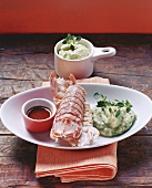 Mantis shrimp with herb mashed potato