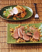 Goose breast with red lentils & turkey escalope with carrots