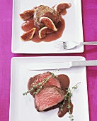Beef fillet with chocolate sauce; beef medallions with figs