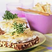 Soft cheese sandwich with radish salad