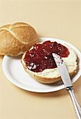 Jam on bread roll