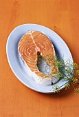 Salmon steak with dill