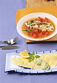 Zander fillet with basil cream and halibut with tomatoes