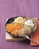 Raw vegetable salad with quark dressing