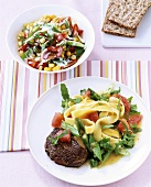 Steak with mango pasta and sweetcorn salad