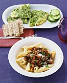 Pasta with aubergines and green frittata