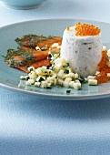 Sour cream mousse with caviar and gravadlax