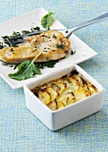 Turkey escalope with kohlrabi and potato gratin