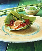 Ngobplah (Fish in banana leaf basket, Thailand)