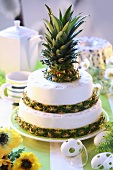 Two-tiered pineapple cake