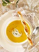 Carrot soup with savoury stick (Christmas)