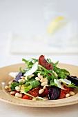 Grilled vegetable, bean and rocket salad