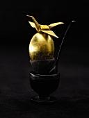 Golden egg in egg cup against black background