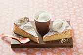 Almond cake from Majorca served with ice cream
