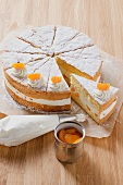 Cream cake with cheese cream filling and mandarin oranges