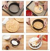 Making Flockentorte (choux pastry cake)
