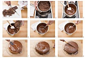 Melting couverture chocolate and coating a cake with it