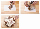 Decorating a cake with a marbled decoration