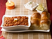 Pav bhaji (Potato curry with bread, India)