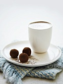 Caffe latte and chocolate truffles