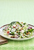 Waldorf salad with spinach and walnuts
