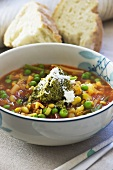 Minestrone with herb pesto and white bread