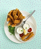 Fish goujons with peas and dips for children