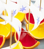 Fruit jelly boats (close-up)
