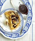 Crêpes with bananas and chocolate sauce