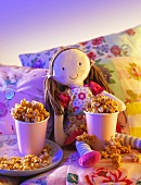 Caramel popcorn in a child's room