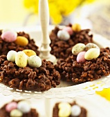 Chocolate crispies with sugar eggs for Easter