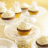 Christmas cupcakes with silver dragees